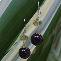 Garnet and citrine dangle earrings, 'Exuberance' - Garnet and citrine dangle earrings