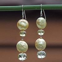 Pearl and citrine dangle earrings, 'Oriental Sun' - Pearl and citrine dangle earrings