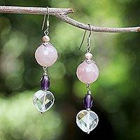 Pearl and rose quartz dangle earrings, 'Mystical Romance' - Pearl and rose quartz dangle earrings
