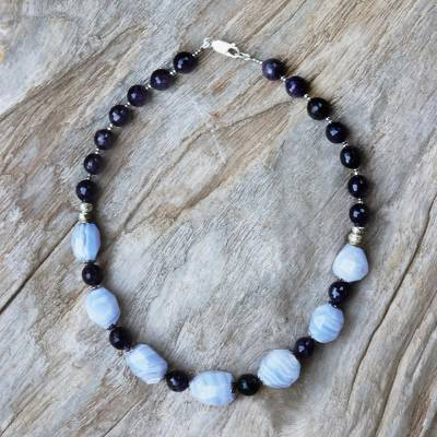 Amethyst and agate beaded necklace, 'Day Dreams' - Amethyst and agate beaded necklace