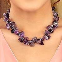 Pearl and amethyst choker, 'Iridescent Night' - Beaded Amethyst and Pearl Necklace