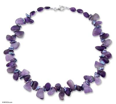 Beaded Amethyst and Pearl Necklace, 'Iridescent Night'