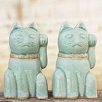 Celadon ceramic statuettes, 'Lucky Cats' (pair) - Pair of Celadon Ceramic Good Fortune Cats from Thailand