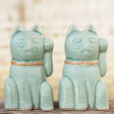 Celadon ceramic statuettes, Lucky Cats (pair)