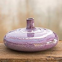 Celadon ceramic vase, 'Lavender Universe'