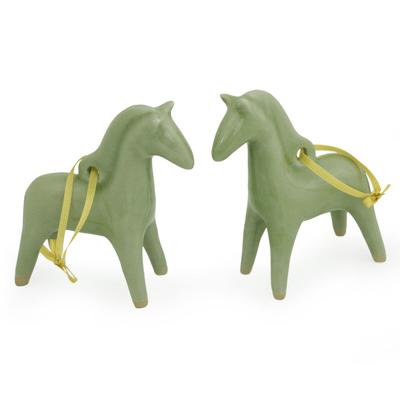 Unique Celadon Ceramic Christmas Ornaments (Pair)
