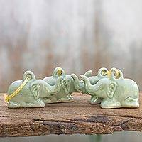 Celadon ceramic ornaments, 'Green Holiday Elephants' (set of 4)