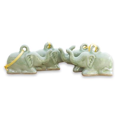 Fair Trade Celadon Ceramic Christmas Ornaments (Set of 4)
