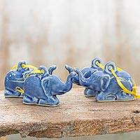 Celadon ceramic ornaments, 'Blue Holiday Elephants' (set of 4)
