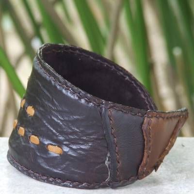 Leather wristband bracelet, Golden Path