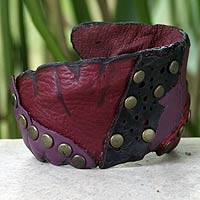 Leather cuff bracelet, 'Violet Rose' - Hand Made Leather Cuff Bracelet