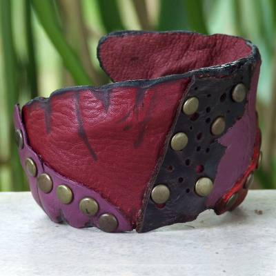 Leather cuff bracelet, 'Violet Rose' - Hand Made Leather Cuff Bracelet
