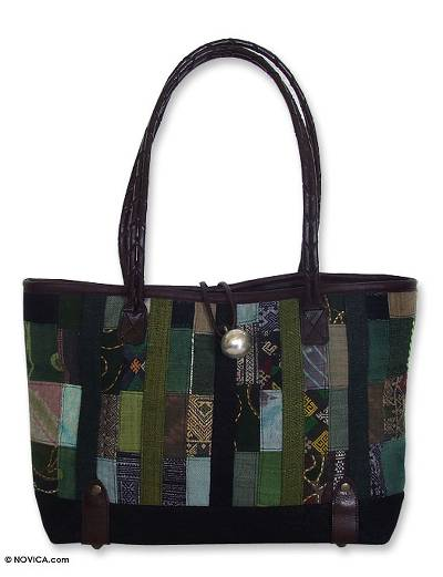 Leather and cotton shoulder bag, 'Forest Green Collage' - Handmade Hill Tribe Hemp Shoulder Bag