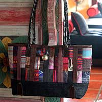Leather and cotton shoulder bag, 'Indigo Collage' - Hill Tribe Leather Accent and Cotton Shoulder Bag