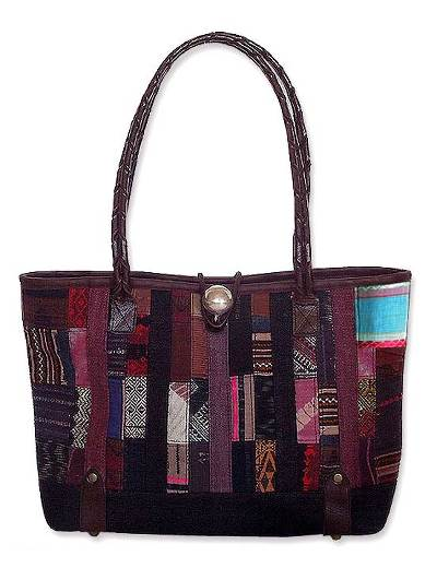 Novica Leather accent cotton shoulder bag, Red Thai Spice