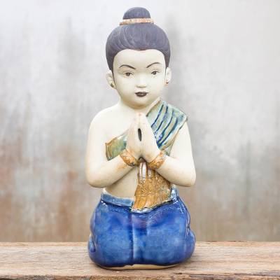 Celadon ceramic statuette, 'Thai Sawasdee Girl' - Unique Celadon Ceramic Sculpture