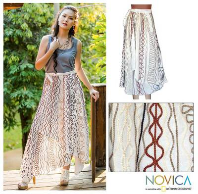 Cotton wrap around skirt, 'Hill Tribe Chic' - Embroidered Wrap Skirt