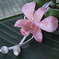 Natural orchid leather long flower necklace, 'Exotic Strawberry Bloom' - Natural Flower Lariat Necklace