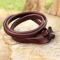 Leather wrap bracelet, 'Brown Triple Twist' - Unique Leather Wrap Bracelet