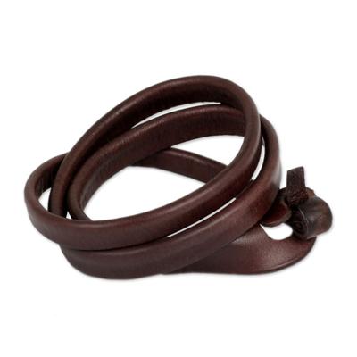 Leather wrap bracelet, 'Brown Triple Twist' - Unique Leather Wrap Bracelet