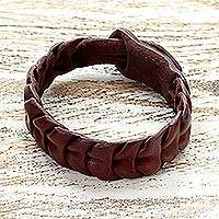Leather wristband bracelet, 'Stepping Stones' - Hand Made Braided Leather Wristband Bracelet