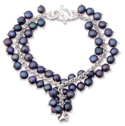 Pearl charm bracelet, 'Blue Moon Rose' - Hand Crafted Sterling Silver and Pearl Bracelet
