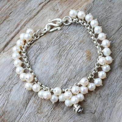 Pearl floral bracelet, 'White Moon Rose' - Artisan Crafted Pearl Bracelet