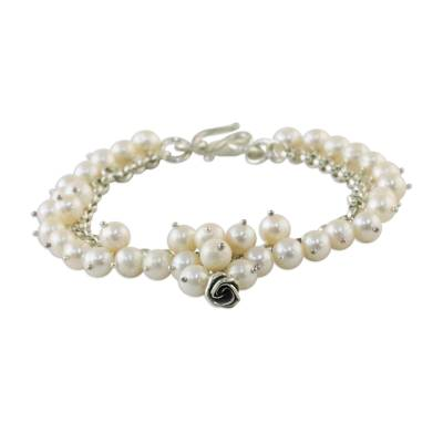 Pearl floral bracelet, 'White Moon Rose' - Artisan Crafted Pearl Bracelet
