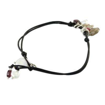 Leather and pearl pendant bracelet