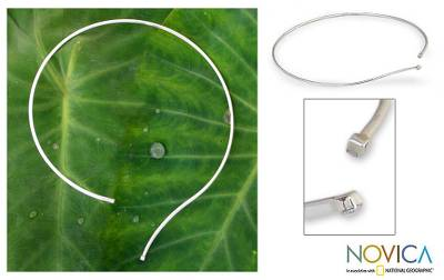 Sterling silver choker, 'Grand Minimalism' - Sterling Silver Collar Necklace from Thailand