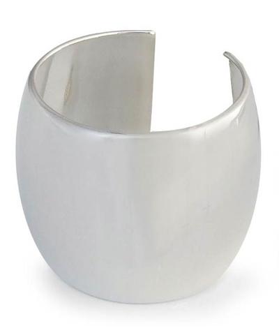 Sterling silver cuff bracelet, 'The Barrel' - Handmade Sterling Silver Cuff Bracelet