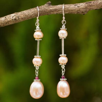 bd7b10cf602 Handmade Bridal Sterling Silver and Pearl Earrings - Pink Lotus
