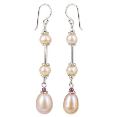 Pearl dangle earrings, 'Pink Lotus' - Handmade Bridal Sterling Silver and Pearl Earrings