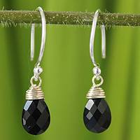 Black spinel dangle earrings, 'Glowing Exotic'