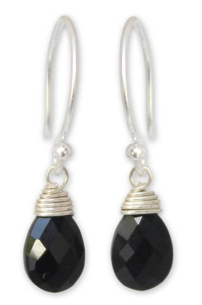 Black spinel dangle earrings, 'Glowing Exotic' - Women's Silver and Spinel Dangle Earrings