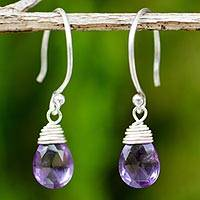 Amethyst dangle earrings, 'Glowing Exotic' - Silver and Amethyst Damgle Earrings