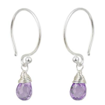 Fine Silver and Amethyst Damgle Earrings