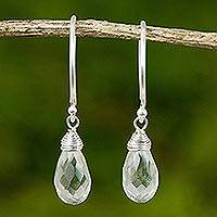 Quartz dangle earrings, 'Glowing Exotic' - Handcrafted Silver and Quartz Earrings from Thailand