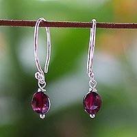 Garnet dangle earrings, 'Glowing Exotic' - Sterling Silver and Garnet Dangle Earrings