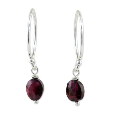 Garnet dangle earrings, 'Glowing Exotic' - Sterling Silver and Garnet Dangle Earrings