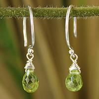 Peridot dangle earrings, 'Sparkling Dewdrop' - Silver and Peridot Dangle Earrings