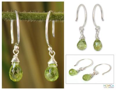 Peridot dangle earrings, 'Sparkling Dewdrop' - Silver and Peridot Dangle Earrings