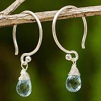 Blue topaz dangle earrings, 'Sparkling Dewdrop' - Thai Sterling Silver and Blue Topaz Dangle Earrings