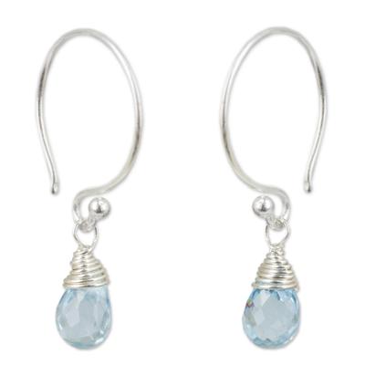 Blue topaz dangle earrings, 'Sparkling Dewdrop' - Thai Sterling Silver and Blue Topaz Dangle Earrings