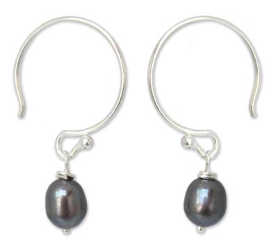Pearl dangle earrings, 'Ocean Queen' - Fair Trade Pearl Dangle Earrings