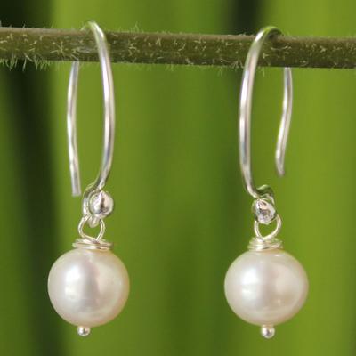Pearl dangle earrings, 'Snow Queen' - Pearl dangle earrings
