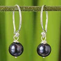 Pearl dangle earrings, 'Night Queen' - Sterling Silver and Pearl Dangle Earrings from Thailand