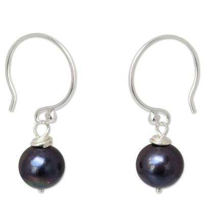 Sterling Silver and Pearl Dangle Earrings from Thailand