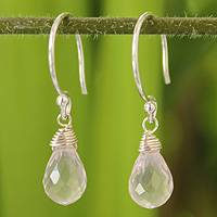 Rose quartz dangle earrings, 'Dewdrops' - Hand Made Sterling Sivler and Rose Quartz Dangle Earrings