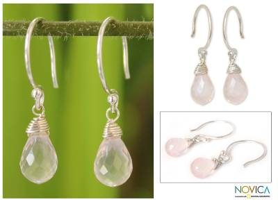 Rose quartz dangle earrings, 'Sparkling Dewdrop' - Hand Made Sterling Sivler and Rose Quartz Dangle Earrings